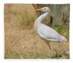 Stately Walking Cattle Egret Fleece Blanket