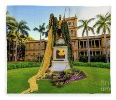 Statue Of, King Kamehameha The Great Fleece Blanket