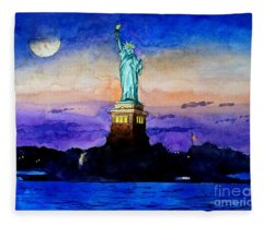 Statue Of Liberty New York Fleece Blanket