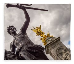 Statues In Front Of Buckingham Palace Fleece Blanket