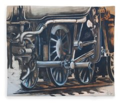 Steam Engine Wheels Fleece Blanket