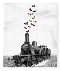 Steam Locomotive Fleece Blanket