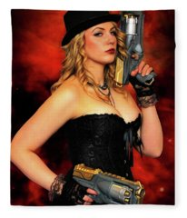 Steam Punk Gun Figther Fleece Blanket