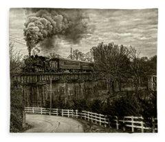 Steam Train Rolling Fleece Blanket