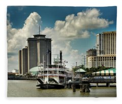 Steamboat And Big Buildings Fleece Blanket