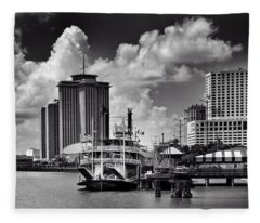Steamboat And Big Buildings In Black And White Fleece Blanket