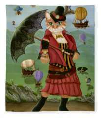 Steampunk Cat Gal - Victorian Cat Fleece Blanket