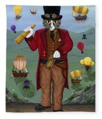 Steampunk Cat Guy - Victorian Cat Fleece Blanket