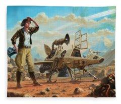 Steampunk Girl With Spaceship Fleece Blanket