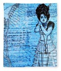 Steampunk Girls In Blues Fleece Blanket