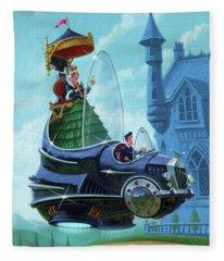 Steampunk Hover Rolls With Queen   Fleece Blanket