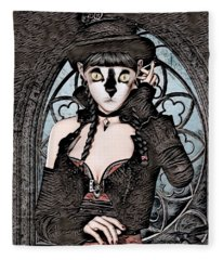 Steampunk Kitty By Artful Oasis Fleece Blanket