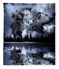 Steampunk Polar Bear Landscape Fleece Blanket