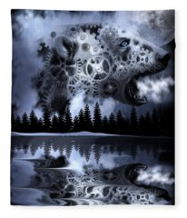 Steampunk Polar Bear Landscape Fleece Blanket