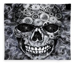 Steampunk Skull Fleece Blanket