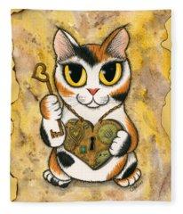 Steampunk Valentine Cat Fleece Blanket