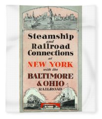 Steamship And Railroad Connections At New York Fleece Blanket