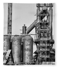 Steel Blast Furnace Bw Fleece Blanket