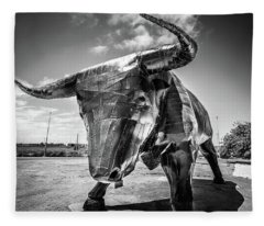 Steel Bull Statue Fleece Blanket