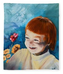 Stefi- My Trip To Holland - Red Headed Angel Fleece Blanket