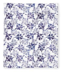 Fleece Blanket featuring the painting Stencilled Floral by Jocelyn Friis