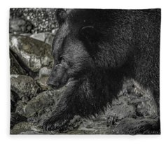 Stepping Into The Creek Black Bear Fleece Blanket