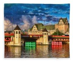 Stettin Bridge - Pol890431 Fleece Blanket