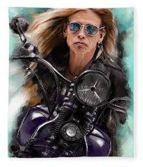 Steven Tyler On A Bike Fleece Blanket
