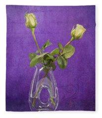 Still Life - Elegant Yellow Rosebuds On Purple Fleece Blanket