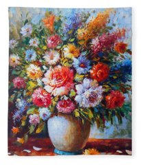 Still Life Flowers Fleece Blanket