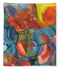 Still Life-flowers With Fruit Fleece Blanket