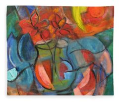 Still Life-flowers With Fruit Fleece Blanket