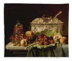 Still Life  Fruit And Dishes  Late 19th Century Oil On Panel Gottfried Schultz  German  1842  1919 Fleece Blanket