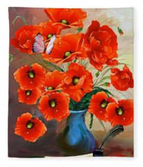 Still Life Poppies Fleece Blanket