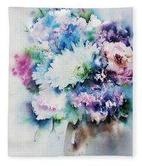 Still Life Rose Bouquet Watercolour Fleece Blanket