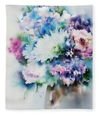 Still Life Rose Bouquet Watercolour Fleece Blanket
