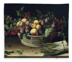 Still Life With A Basket Of Fruit And A Bunch Of Asparagus Fleece Blanket