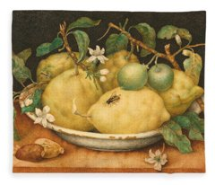 Still Life With A Bowl Of Citrons Fleece Blanket