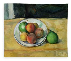 Still Life With A Peach And Two Green Pears Fleece Blanket