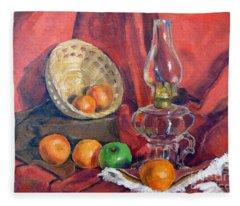 Still Life With An Oil Lamp Fleece Blanket