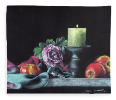 Still Life With Candle Fleece Blanket