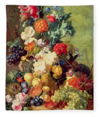 Still Life With Flowers And Fruit Fleece Blanket