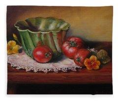Still Life With Green Bowl Fleece Blanket
