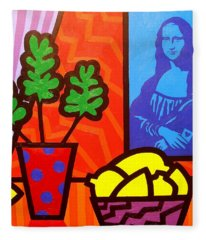 Still Life With Matisse And Mona Lisa Fleece Blanket