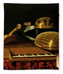 Still Life With Musical Instruments And Books Fleece Blanket