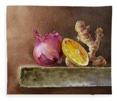 Still Life With Onion Lemon And Ginger Fleece Blanket
