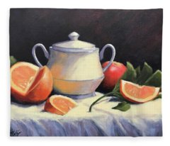 Still Life With Oranges Fleece Blanket