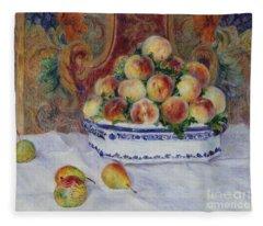 Still Life With Peaches, 1881 Fleece Blanket