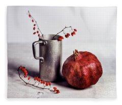 Still Life With Pomegranate Fleece Blanket