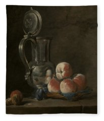 Still Life With Tin Pitcher And Peaches  Fleece Blanket